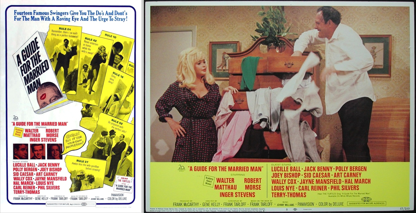 The third of robert morse s three films in 1967 is a guide for the married man jayne mansfield s cameo appearance in a guide for the married man is the