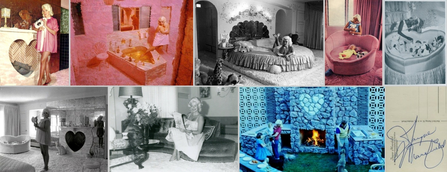 In Addition To The Heartshaped Pool Hearts Theme Of Jayne Mansfield S Pink Palace Included A Fireplace Bathtub